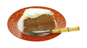 Frosted Carrot Cake Slice Fork Plate Royalty Free Stock Photography