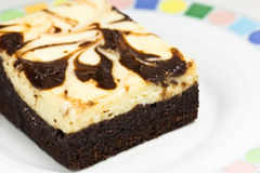 Frosted chocolate cheese brownie Royalty Free Stock Photography