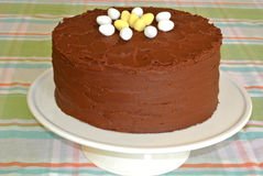 Frosted Chocolate fudge  Layer Easter Cake homemade Stock Photo