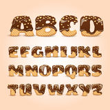 Frosted Chocolate Wafers Alphabet Letters Set. Frosted chocolate sprinkled waffles letters sweet alphabet dessert for kids pictograms collection  poster Stock Photos
