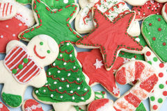 Frosted Christmas Cookies. Frosted holiday christmas sugar cookies Royalty Free Stock Image