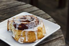 Frosted Cinnamon Roll on a White Plate. A fresh, delicious frosted cinnamon roll on a square, white plate Royalty Free Stock Photo