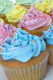 Frosted Cupcakes. Colorful frosted cupcakes with candy sprinkles. Focus on the pink cupcake royalty free stock photo