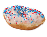 Frosted Donut with Sprinkles Stock Photo
