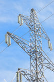 Frosted electricity pylon detail insulator on sunny winters day Stock Image