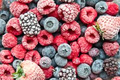 Various frozen mix berries. frozen berries. Frosted or frozen mix berries for background Royalty Free Stock Photos