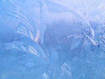 Frosted glass. Frosty natural pattern on window glass Stock Photo