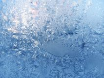 Frosted glass. Frosty natural pattern on winter window Stock Photography