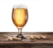 Frosted glass of beer on the wooden table. stock photos