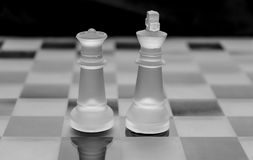 Frosted glass chess pieces. On black and white Stock Image