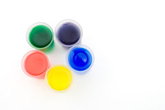 Frosted glass and color water arranged in a pentag Royalty Free Stock Images