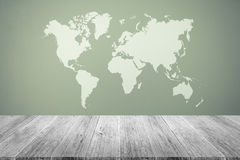 Frosted glass texture. Background natural color , process in vintage style with white wood terrace with world map stock photo