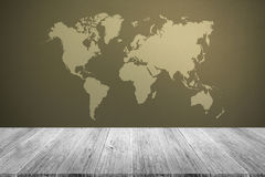 Frosted glass texture. Background natural color , process in vintage style with white wood terrace with world map Stock Image