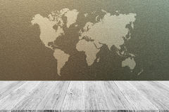 Frosted glass texture. Background natural color, with white wood terrace and world map Royalty Free Stock Photo