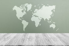 Frosted glass texture. Background natural color, with white wood terrace and world map Royalty Free Stock Images