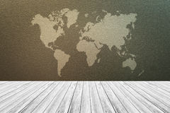 Frosted glass texture, with white wood terrace and world map. Frosted glass texture background natural color, with white wood terrace and world map stock image