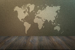 Frosted glass texture with wood terrace with world map. Frosted glass texture background natural color with wood terrace with world map royalty free stock photography