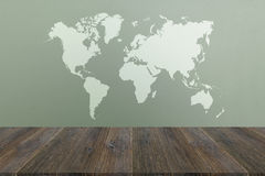 Frosted glass texture with wood terrace with world map. Frosted glass texture background natural color with wood terrace with world map royalty free stock images