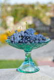 Frosted grapes in a glass vase.  Stock Image