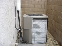 Frosted Heat Pump. Malfunctioning Heat Pump covered with excessive snow frost Stock Images
