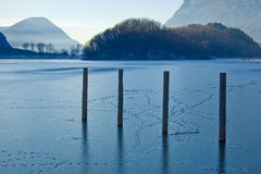 Frosted lake in Italy Royalty Free Stock Photography