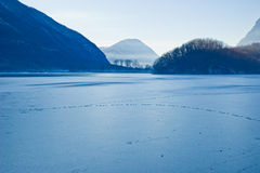 Frosted lake in Italy stock image
