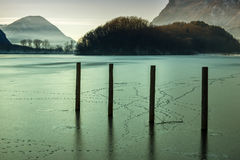 Frosted lake in north Italy - Lago di piano. Frosted lake in north Italy stock photography