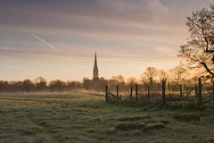 Frosted meadows. A frosty morning looking towards Salisbury cathedral Stock Images