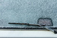Frosted over rear windshield Royalty Free Stock Image