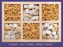 Frosted and Puffed Wheat Cereals Stock Photography
