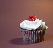 Frosted Raspberry Cupcake Royalty Free Stock Image