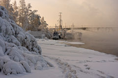 Frosted ships and river in a frosty mist Royalty Free Stock Photo