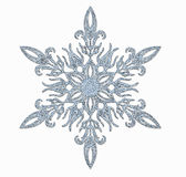 Frosted snowflake. Decorative frosted snowflake on white background royalty free stock images
