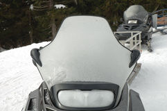 Frosted snowmobile windshield Royalty Free Stock Photos