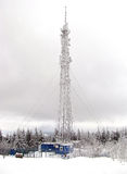 Frosted tower. Frosted teletower on the top of the mountain royalty free stock photo