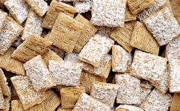 Frosted wheat cereals Royalty Free Stock Photo