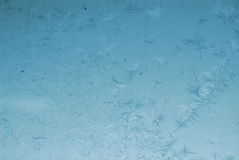Frosted window. Blue winter frosted window with beautiful tracery Royalty Free Stock Images