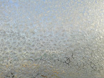 Frosted Window. Ice on frozen window texture, winter window background Royalty Free Stock Image