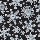 Frosted Window Seamless Pattern with Detailed Snowflakes royalty free illustration