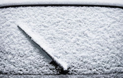 Frosted windshield. At winter  - close up Royalty Free Stock Photography