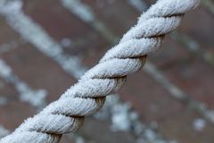 Frosted winter rope royalty free stock photography