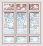 Frosted winter window, vector Royalty Free Stock Photos