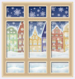 Frosted winter window, vector stock photo