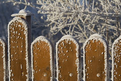 The frosted, wooden fence Stock Photography