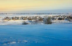 Frostig dag i vinter Fotografering för Bildbyråer