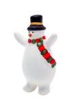frostig isolerad snowman för julfigurine Arkivbilder