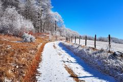 Frostig lanscape för berg, vinterplats Royaltyfri Bild