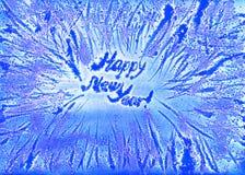 Frostig vattenfärg för nytt år för snöflingaram Fotografering för Bildbyråer