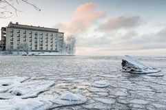 Frostig vinterdag bredvid sjön Fotografering för Bildbyråer