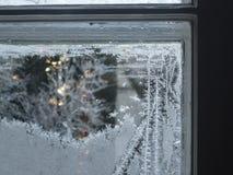 frostigt fönster Fotografering för Bildbyråer